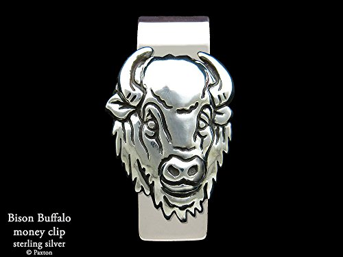 Bison Buffalo head Money Clip in Solid Sterling Silver Hand Carved, Cast & Fabricated by Paxton by Paxton Jewelry