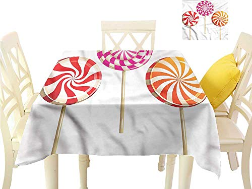 WilliamsDecor Dinning Table Covers Colorful,Lolly Pops on Sticks Dinning Table Covers W 54