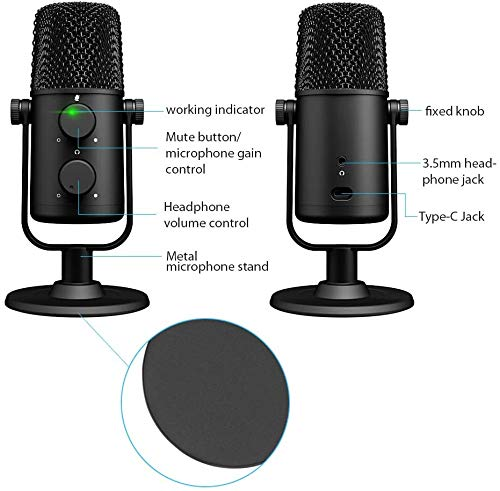 MAONO AU-902 USB Condenser Podcast Microphone, with Dual Volume Control, Mute Button, Monitor Headphone Jack, Plug and Play Mic for Vlogging, Gaming, Studio Recording, YouTube