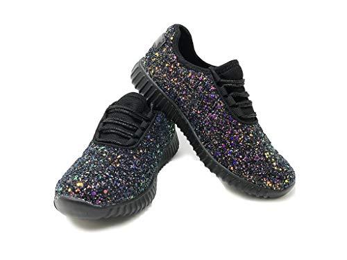 ens Fashion Stylish Trendy Sneakers Black Shiny Textured Comfortable Street Jogging Urban City Shoes Size 8 ()