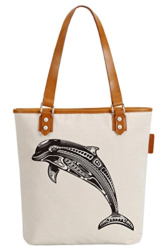 So'each Women's Marine Dolphin Canvas Tote Pearly Top Handle Shoulder Bag