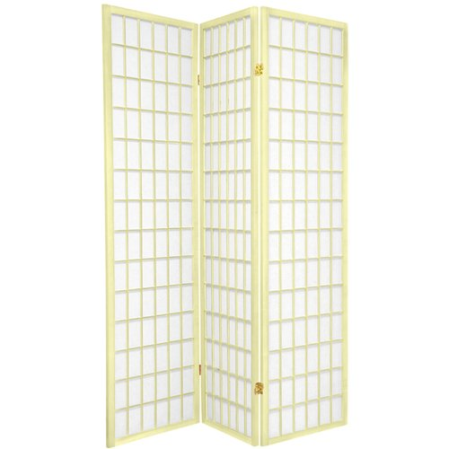 Oriental Furniture 6 ft. Tall Window Pane - Special Edition - Ivory - 3 Panels