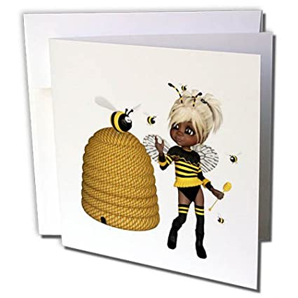 Amazon 3drose african american african american bumble bee 3drose african american african american bumble bee fairy and honey pot floral 12 greeting m4hsunfo