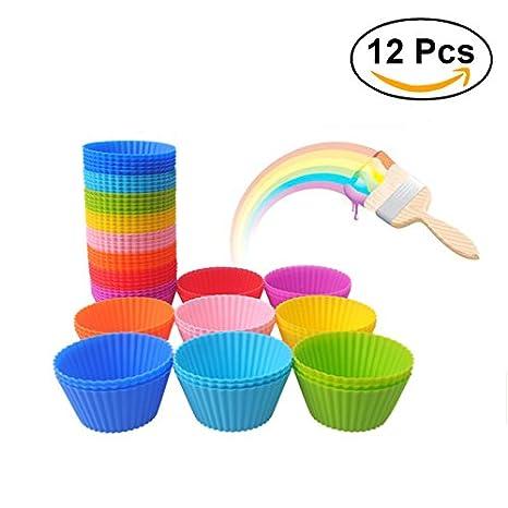 ounona 12 piezas redondo silicona muffin moldes para horno cupcake moldes Jelly molde cupcakes eléctrica taza de magdalenas, 7 cm: Amazon.es: Hogar