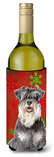 Red Snowflakes Holiday Christmas  Schnauzer Wine Bottle Beverage Insulator Hugger KJ1185LITERK