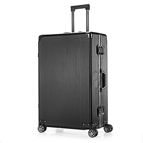 Aluminum Frame Luggage TSA Approved Suitcase Hardside PC Carry On Spinner 20'', Black by Clothink