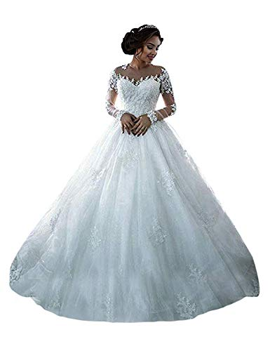 (RYANTH Women's Beaded Lace Wedding Dresses Long Sleeves 2019 Tulle Bridal Ball Gowns R12 White 12)