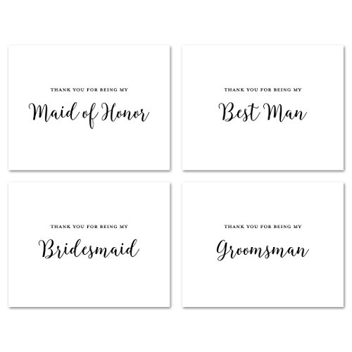 (12 cnt Wedding Party Thank You Cards (Black))