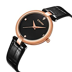 Women's Quartz Analog Wrist Watch Black Dial Leather Strap, Casual Simple Dress Watches for Women Ladies