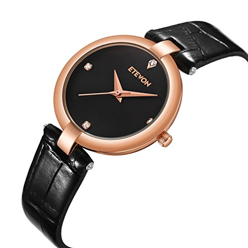 Women's Quartz Analog Wrist Watch Black Dial Leather Strap, Casual Simple Dress Watches for Women Ladies -