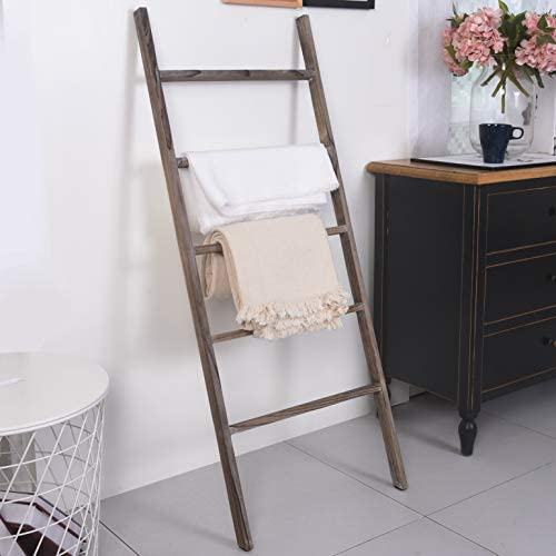 BarnwoodUSA Rustic Farmhouse Decorative Ladder – Our 4 ft Ladder can be Mounted Horizontally or Vertically and is Crafted from 100 Recycled and Reclaimed Wood No Assembly Required White Wash