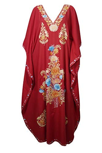 f97c061354 Mogul Interior Womens Lounge Kaftan Cotton Red Embroidered Designer Kimono  Caftan One Size: Amazon.co.uk: Clothing
