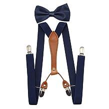 JAIFEI Suspenders & Bowtie Set- Men's Elastic X Band Suspenders + Bowtie For Wedding, Formal Events (Navy)