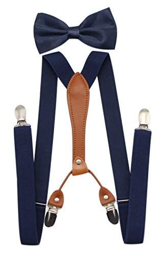 JAIFEI Suspenders & Bowtie Set- Men's Elastic X Band Suspenders + Bowtie For Wedding, Formal Events (Navy)