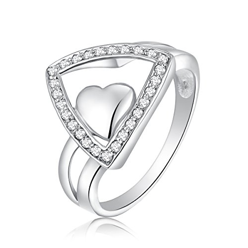 0.27 Ct. Diamond 925 Sterling Silver Heart Promise Claddagh Ring Size 8 (G-H Color, SI2-SI3 Clarity)