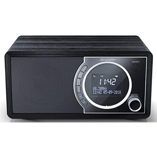 chollos oferta descuentos barato SHARP DR 450 BK Radio Despertador con sintonizador Dab Dab FM Bluetooth 4 2 Potencia Maxima 6W Pantalla LCD Carcasa de Madera y Panel Frontal de Acero Inoxidable