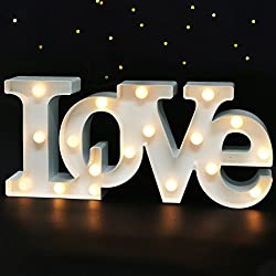 "Bright Zeal 16"" x 7"" Large LOVE Bedroom Decor Lights LED Marquee Letters (WHITE) - LOVE Sign For Wall Table - Wedding Decorations Lights For Church Romantic Signs For Home Engagement Party Decorations"
