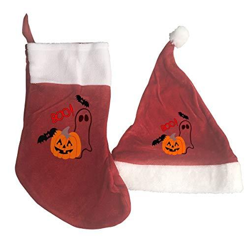 Cute Halloween Pumpkin Clipart (HK37USFEI Christmas Stockings Santa Hat,Boo Cute Halloween Clipart Pumpkin Santa Hat and Stocking)