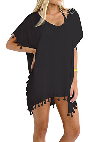 DouBCQ Womens Bathing Suit Cover Up Dress ( Black ),One (Suite Women)