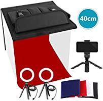 Neewer Photo Studio Box, 16x16inches Table Top Photo Light Box Continous Lighting Kit with 3 Tripod Stands, 2 LED Ring...