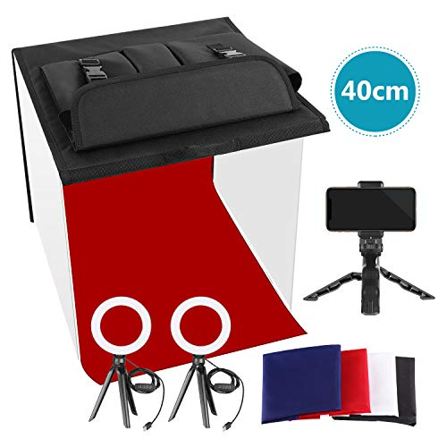 Neewer Photo Studio Box, 16x16inches Table Top Photo Light Box Continuous Lighting Kit with 3 Tripod Stands 2 LED Ring Lights, 4 Color Backdrops and a Phone Holder for Product Jewelry Food Photography