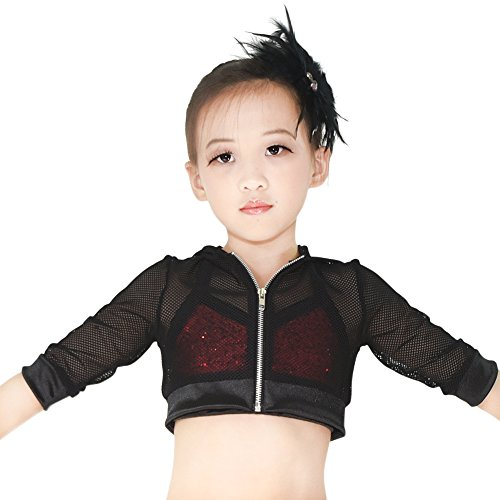 MiDee Novelty Fishnet Hoodies Hip-Hop Costumes Hiphop Jacket 3/4 Length 5 Colors (MA, Black) by MiDee