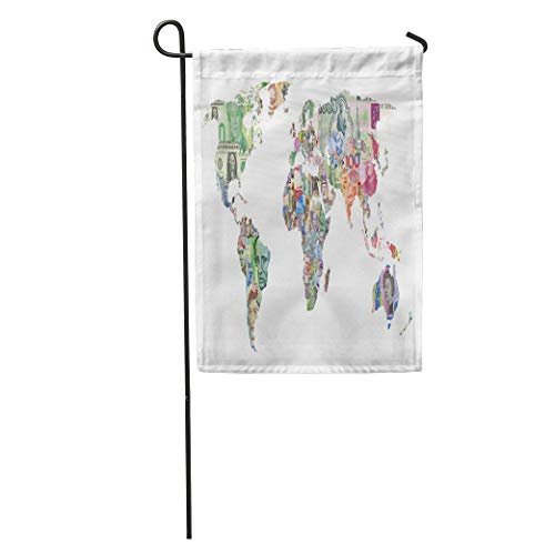 (Andrea Back Garden Flag Capital World Countries Currency Map Finance Money Bank Note Exchange Home Yard House Decor Barnner Outdoor Stand 12x18 Inches Flag)