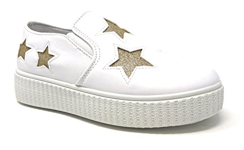 - Pink Label Women's Slip-On Stylish Fashion Sneaker with Glitter Stars in White Size: 10