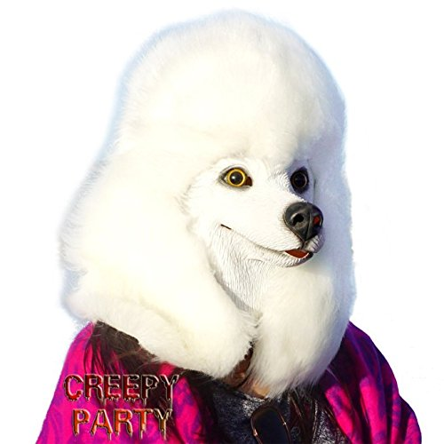 CreepyParty Deluxe Halloween Costume Party Latex Animal Dog Head Mask Sounding Poodle (Couple Scary Halloween Costumes)