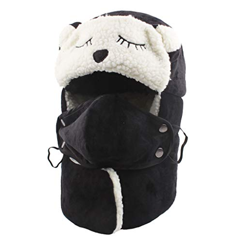 Mother Daughter Matching Winter Windproof Warm Plus Velvet Knit Hat Scarf Set with Balaclava Full Face Mask Neck Warmer Thicken Thermal Fleece Lining Ski Earmuffs Cap for Women Kids (Black, Kids)