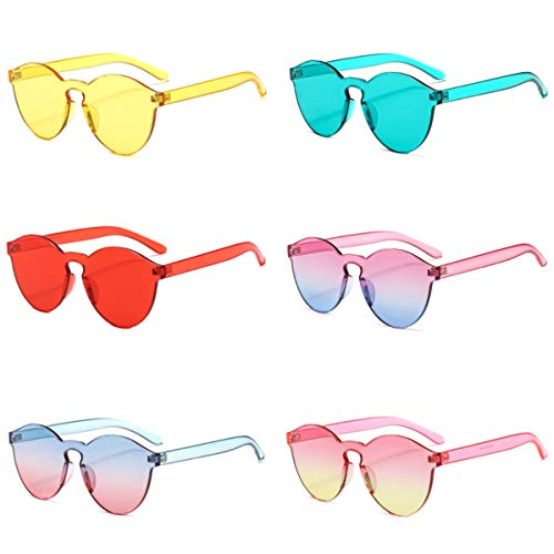 One Piece Rimless Sunglasses Transparent Candy Color Tinted Eyewear (6 Pack)