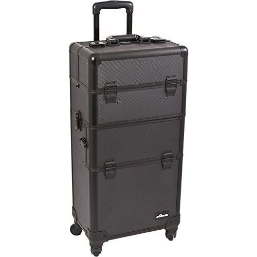 SUNRISE Makeup Case on Wheels 2 in 1 Professional Artist Organizer I3161, 4 Slide and 1 Removable Tray, 4 Wheel Spinner, Black Dot by SunRise