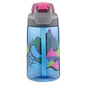 AVEX Freestyle Kids Autospout Water Bottle, 16oz, Light Blue with Mountain
