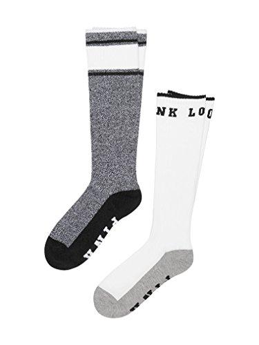 Victoria's Secret PINK Knee High Socks Black Marl & White Love Pink- 2 Pairs (Victorias Secret Love Pink Socks)