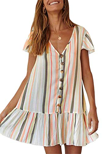 (PRETTYGARDEN Women's Summer Casual Dress Short Sleeves V Neck Colorful Striped Loose Fit Ruffle Mini Dress (Army Grren, Large))