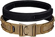 IDOGEAR 2'' Tactical MOLLE Battle Belt Quick Release Heavy Duty Rigger Belts with Inner Belt and Outer