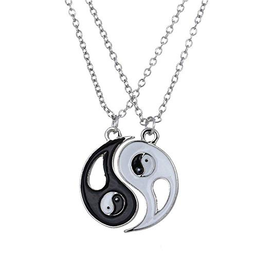 (Jewelryamintra Art 1Set Best Friends Ying Yang Necklaces Taiji Bagua Charm Pendant Necklace q)