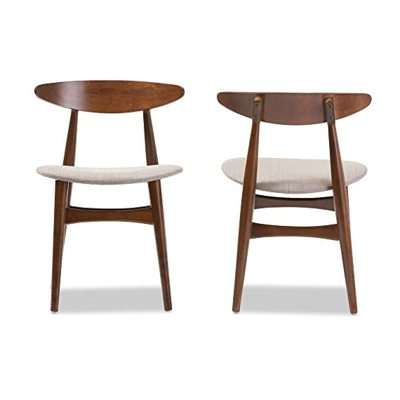 Baxton Studio Set of 2 Juliette Mid-Century Modern Dining Chairs, Medium, French Oak - Mid-century modern 2-piece dining chair set Materials: Solid rubber wood, fabric, foam Padded seat with beige fabric upholstery. Bent plywood backrest with shapely legs - kitchen-dining-room-furniture, kitchen-dining-room, kitchen-dining-room-chairs - 41PyvXjGppL. SS570  -