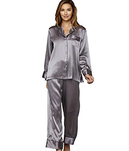 Julianna Rae Women's Paradise Found 100% Silk Pajamas, Roca,