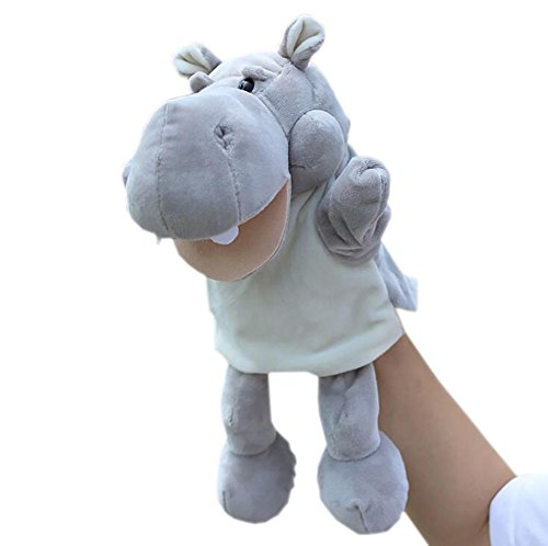 Mouth Moving Plush Grey Hippo Hand Puppet Cute Animal Puppets for (Ventriloquist Costume For Kids)