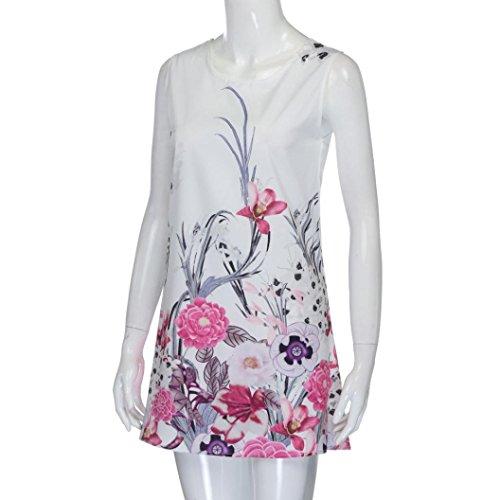 NREALY Women's Vintage Boho Summer Sleeveless Beach Printed Short Mini Dress Vestido(S, Pink) by NREALY (Image #1)