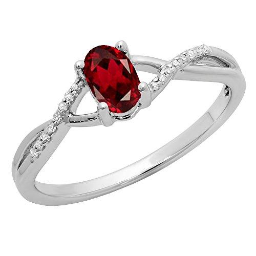 Dazzlingrock Collection 10K 6X4 MM Garnet & White Diamond Bridal Swirl Engagement Promise Ring, White Gold, Size 7 (Design 10k Gold White Swirl)