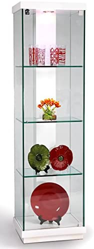 Chintaly Imports 6633 Accent Glass Curio Cabinet, Clear White