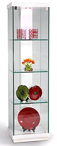 Chintaly Imports 6633 Accent Glass Curio Cabinet, Clear/White ()