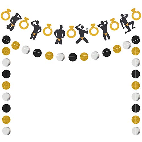 Bachelorette Banner Male Dancer Strippers Garland Naughty Dirty Hen Party Engagement Bridal Shower Wedding Party Supplies Glitter 57 Circle Dots Decorations Pre-Strung
