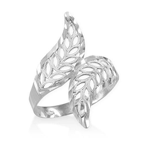 - High Polish 14k White Gold Double Leaf Filigree Cocktail Ring (Size 8)