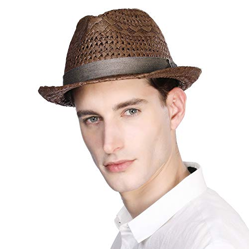 Mens Summer Hats Fedora Panama Straw Womens Kentucky Derby Packable Cuban Havana Party Ladies Brown Medium Brown Band