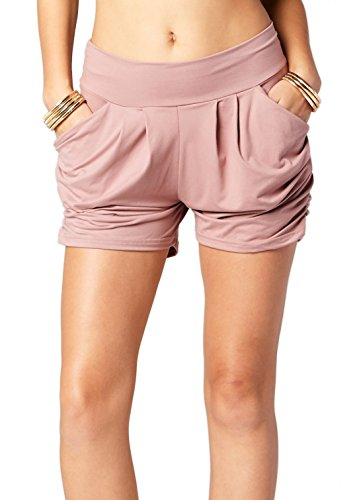 Premium Ultra Soft Harem High Waisted Shorts for Women with Pockets - Solid - Mauve Pink - Large/X-Large (12-18)