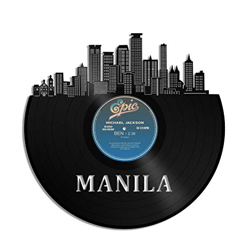 VinylshopUS - Manila Philippines Vinyl Wall Art with Out Frame Skyline Souvenir Anniversary Best Gift Home and Office | Room Decoration