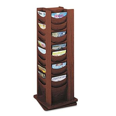 Safco - Rotary Display 48 Compartments 17-3/4W X 17-3/4D X 49-1/2H Mahogany ''Product Category: Office Furniture/Display Racks & Cases''